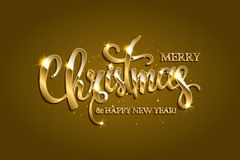Vector golden text on gold red background. Golden text on gold background. Merry Christmas and Happy New Year lettering for invitation and greeting card, prints Royalty Free Stock Photo