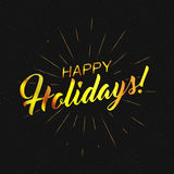 Vector golden text Happy Holidays for greeting card, flyer, poster logo   Royalty Free Stock Photography