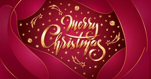 Vector Golden text Merry Christmas on red plastic effect background with falling stars, planets, comets, galaxies. On liquid fluid background. Handwritten stock illustration