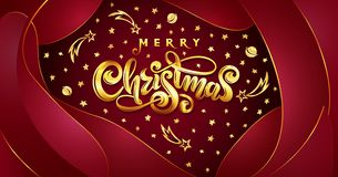 Vector Golden text Merry Christmas on red plastic effect background with falling stars, planets, comets, galaxies. On liquid fluid background. Handwritten royalty free illustration