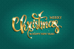 Vector golden text on turquoise background. Golden text on turquoise background. Merry Christmas and Happy New Year lettering for invitation and greeting card Royalty Free Stock Photography