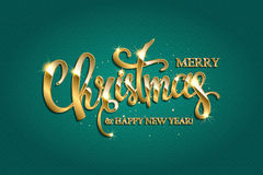 Vector golden text on turquoise background. Golden text on turquoise background. Merry Christmas and Happy New Year lettering for invitation and greeting card Royalty Free Stock Photos