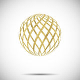 Vector golden textured sphere ball with ornament and stripes stock illustration