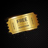 Vector golden tickets and coupons templates Royalty Free Stock Images