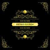 Vector Golden Vintage Frame, Design Element on Black Background, Elegant Card. stock illustration