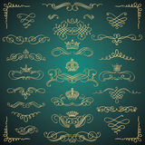 Vector Golden Vintage Hand Drawn Swirls and Crowns Stock Photography