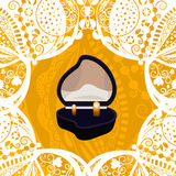 Vector golden wedding rings. Wedding engagement rings in a box beautiful lace background stock illustration