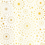 Vector Golden White Abstract Network Metallic Circles Seamless Pattern Background. Great for elegant gold texture fabric. Cards, wedding invitations, wallpaper Royalty Free Stock Photos
