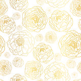 Vector Golden On White Peony Flowers Summer Seamless Pattern Background. Great for elegant gold texture fabric, cards Royalty Free Stock Photos