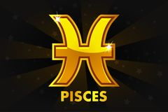 Golden Astrology Signs On Black background, Zodiac Pisces Stock Photography