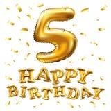 Vector goldenen 5 metallischen Ballon der Zahl fünf alles Gute zum Geburtstag Goldene Ballone der Parteidekoration Jahrestagszeic Stockbilder
