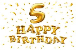 Vector goldenen 5 metallischen Ballon der Zahl fünf alles Gute zum Geburtstag Goldene Ballone der Parteidekoration Jahrestagszeic Stockfoto