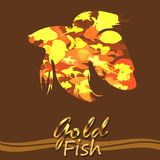 Vector goldfish on a brown background. Vector beautiful goldfish on a brown background with waves and gold lettering Stock Photography