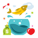 Vector Goldfish. Flat style colorful Cartoon illustration. Royalty Free Stock Images