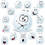 Vector golf ball. Cartoon isolated on white with many facial expressions Stock Image