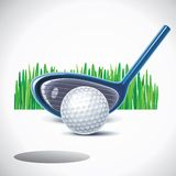 Vector golf club with ball. Illustration of golf club and ball in front of hole with grass background Royalty Free Stock Photo