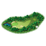 Vector golf course hole aerial isometric view. Golf course layout with water hazard and trees and plants around Royalty Free Stock Photography