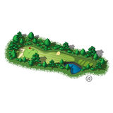 Vector golf course hole aerial isometric view. Golf course layout with water hazard and trees and plants around Stock Images