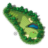 Vector golf course hole aerial isometric view. Golf course layout with water hazard and trees and plants around Royalty Free Stock Photo