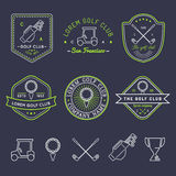 Vector golf logo set. Sports club linear illustrations collection for icons, badges and labels. Royalty Free Stock Images