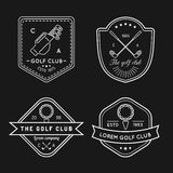 Vector golf logo set. Sports club linear illustrations collection for icons, badges and labels. Stock Photos