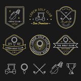 Vector golf logos set. Sports club linear illustrations collection for icons, badges and labels. Royalty Free Stock Photo