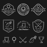 Vector golf logos set. Sports club linear illustrations collection for icons, badges and labels. Stock Images