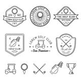 Vector golf logos set. Sports club linear illustrations collection for icons, badges and labels. Stock Image