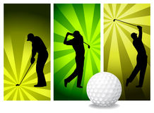 Vector Golf Players. Easy Change Colors. (Check out my portfolio for other silhouettes Royalty Free Stock Image