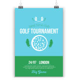 Vector Golf poster design with flat elements. Template for sport flyer, competition.  Royalty Free Stock Photography