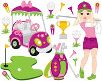 Vector Golf Set with Girl Playing Golf. Vector Golfer. Golf Vector Illustration. Vector golf set with girl playing golf and golf accessories. Vector golfer Stock Image