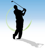 Golfer man silhouette shooting golf ball swing swinging swings hit hits train training play plays playing player golfing vector stock illustration