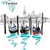 Vector Gondolas in Venice lagoon, Italia. Gondolas moored by Saint Mark square with San Giorgio di Maggiore church in the background in Venice lagoon, Italia stock illustration