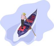 Vector. Gondolier in a gondola. Stock Image