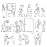 Vector good behaviour and manners of kids set. Vector well-behaved boys, girls with good manners, politeness monochrome set. Young people helping adults stock illustration