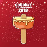 Vector goodbye 2018 year funny concept illustration with melt ice cream isolated on red background with lights and stars. Vector goodbye 2018 year concept stock illustration
