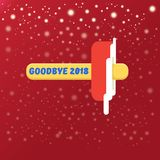Vector goodbye 2018 year funny concept illustration with melt ice cream isolated on red background with lights and stars. Vector goodbye 2018 year concept royalty free illustration