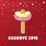 Vector goodbye 2018 year funny concept illustration with melt ice cream isolated on red background with lights and stars. Vector goodbye 2018 year concept vector illustration