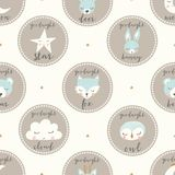 Vector goodnight animals seamless pattern background royalty free illustration
