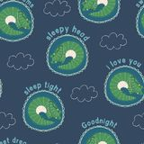 Vector goodnight sleepy alligators childrens repeat pattern. Design stock illustration