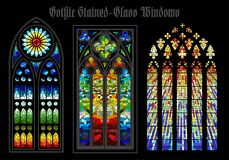 Vector Gothic Stained-Glass Windows. Set of Vector Gothic Stained-Glass Windows Anciant Europian Chistian Cathidral stock illustration