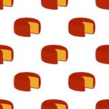 Vector gouda cheese seamless pattern. Slice, chunk in cartoon flat style. Farm market product for label, poster, icon, packaging. Dairy product Royalty Free Stock Photo