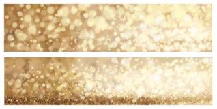 Vector gouden banners Stock Afbeeldingen