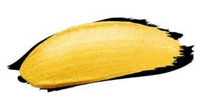 Vector gouden borstelslag De verfvlek van de waterverftextuur op wit wordt geïsoleerd dat Abstracte hand geschilderde achtergrond Stock Fotografie