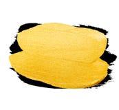 Vector gouden borstelslag De verfvlek van de waterverftextuur op wit wordt geïsoleerd dat Abstracte hand geschilderde achtergrond Stock Foto's
