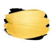 Vector gouden borstelslag De verfvlek van de waterverftextuur op wit wordt geïsoleerd dat Abstracte hand geschilderde achtergrond Stock Afbeeldingen