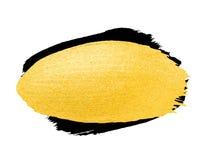 Vector gouden borstelslag De verfvlek van de waterverftextuur op wit wordt geïsoleerd dat Abstracte hand geschilderde achtergrond Royalty-vrije Stock Fotografie