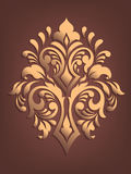 Vector gouden damast volumetrisch sierelement Elegant bloemen abstract element voor ontwerp Stock Foto