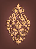 Vector gouden damast volumetrisch sierelement Elegant bloemen abstract element voor ontwerp Stock Fotografie