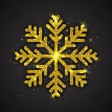 Vector Gouden Fonkelende Sneeuwvlok Stock Afbeeldingen